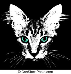 Head of a cat with green eyes. Vector illustration