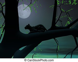 Panther by green night - Silhouette view of panther sitting...