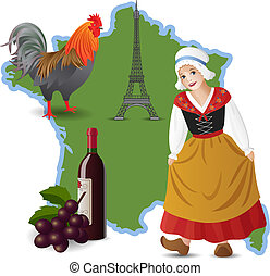 Welcome to France - Vector set with map and symbols of...