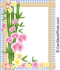 frangipani border - an illustration of green bamboo shoots...