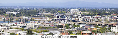 Portland Oregon Fremont Bridge Panorama - Portland Oregon...