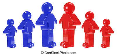 Plastic Figures on White Background