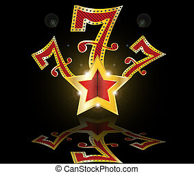 lucky seven 777 jackpot vector illustration