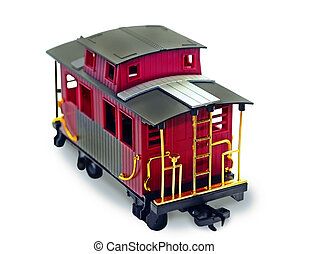 Red Caboose - A bright plastic toy caboose on white...