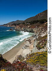 Pacific coastline in California - Highway one - Pacific...