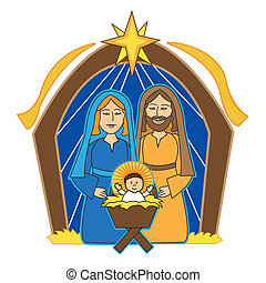 nativity scene, mary, joseph and baby jesus