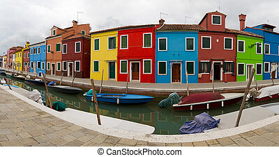 Burano Panorama - Panorama of canal and colourful houses in...
