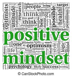 Positive mindset concept in tag cloud - Positive mindset...