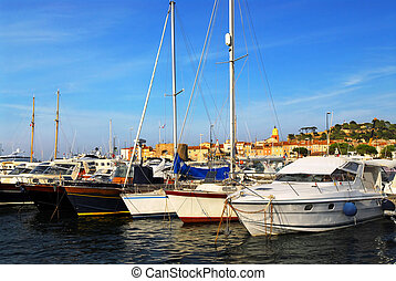Boats at St.Tropez - Luxury boats at the dock in St. Tropez...