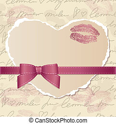 card with paper heart - card with heart of torn paper, bow...