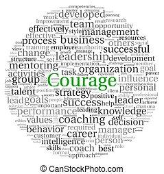 coragem, conceito, palavra, tag, nuvem