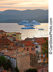 Cruise ships at St.Tropez at sunset in French Riviera