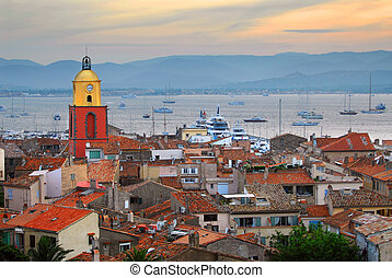 St.Tropez at sunset - View at St.Tropez and anchored ships...