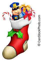 Cartoon Christmas Stocking for Boy with Toys