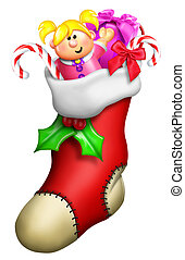 Cartoon Christmas Stocking for Girl with Toys