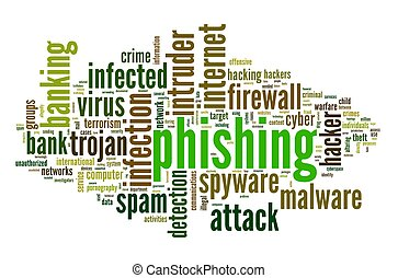 Phishing concept in tag cloud - Phishing concept in word tag...