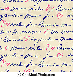 pattern with hand writing elements - seamless pattern with...