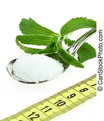 fresco, Stevia, Rebaudiana, azúcar, Cuchara,...