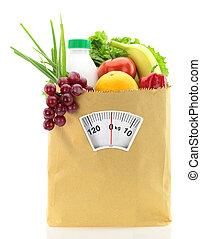sano, dieta, fresco, alimento, papel, bolsa