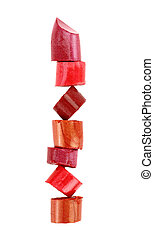 Lipstick stack on white background