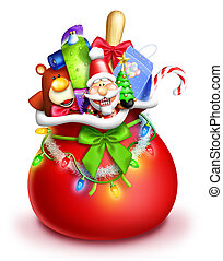 Whimsical Santa Bag with Toys