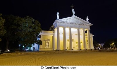 Cathedral in Vilnius, Lithuania, timelapse in motion