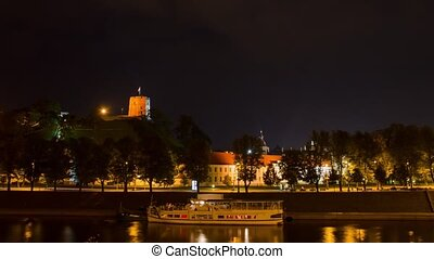 Quay at night Vilnius, timelapse in motion