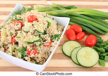 Quinoa salad - Cold quinoa salad with cucumbers, cherry...
