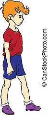 Boy Vector illustration - The child in the maroon shirt....