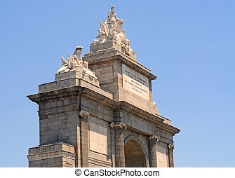 Fragment of the Puerto de Toledo in Madrid, capital of Spain, Europe, male, female, statue, people