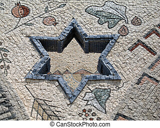 Star of David in mosaic - Judaism - Star of David in mosaic...
