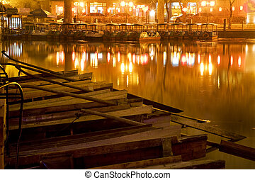 Wooden Boats Houhai Lake Beijing China at Night
