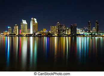 San Diego California - San Diego skyline at night