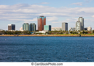Long Beach California - Buildings along the water in Long...