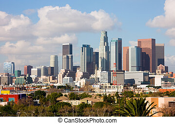 Los Angeles downtown - Los Angeles skyscrapers with big...