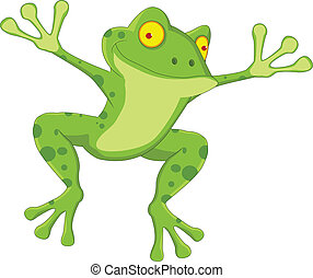 funny frog cartoon - vector illustration of funny frog...
