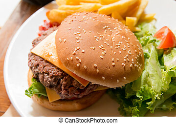 cheese burger - Cheese burger - American cheese burger with...