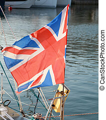 British flag fluttering in the wind outdoor
