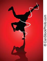 Breakdance - Silhouette illustration of a man figure break...