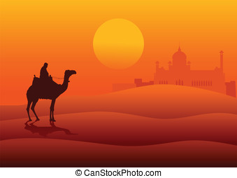 Desert - Silhouette illustration of an Arabian riding a...