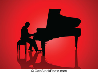 Pianist - Silhouette illustration of a pianist