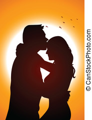 Romantic Scene - Silhouette illustration of two lover in...