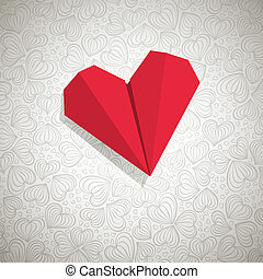 Paper Heart - Valentine card with paper heart and space for...