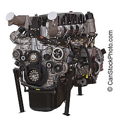 Car engine isolated against a white background