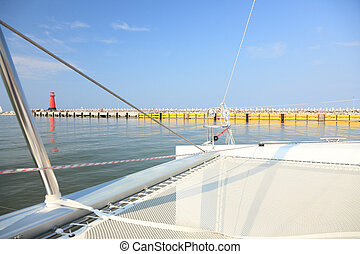 jacht, morze, bałtycki, Latarnia morska, Gdańsk, Polska