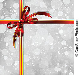 Red bow on a magical Christmas background Vector - Big red...