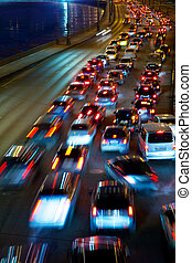 traffic on night road - slow-moving traffic on night road
