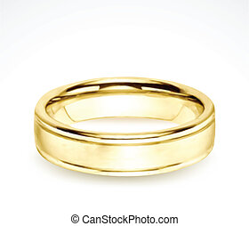 Wedding gold ring isolated on white. Vector illustration