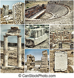 ancient city of Hiyeropolis - set of various images of the...