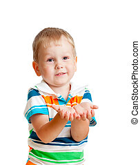 Little child boy reaching his hands out, isolated on white -...